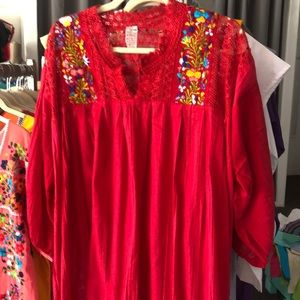 Mexican Hot Pink Embroidered Top Blouse Floral